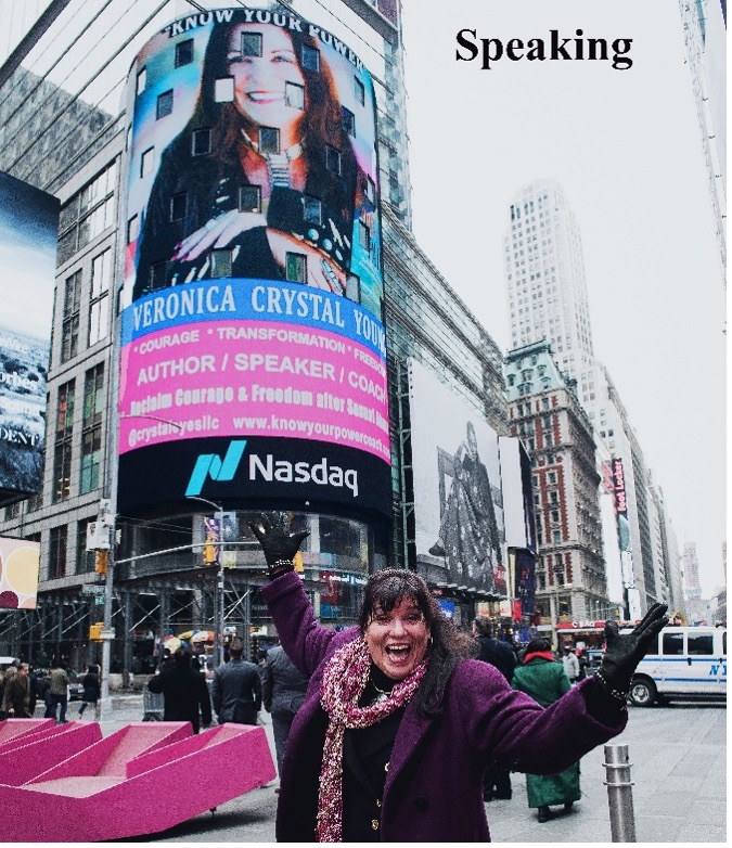 Speaking: Veronica Crystal Young on the Nasdaq Jumbotron in New York City